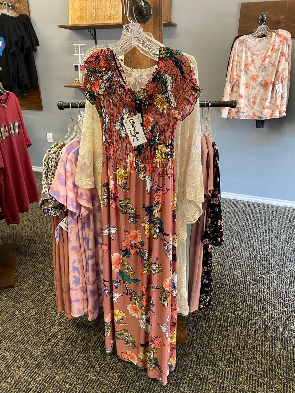 Pink Floral Long Dress (L/XL)