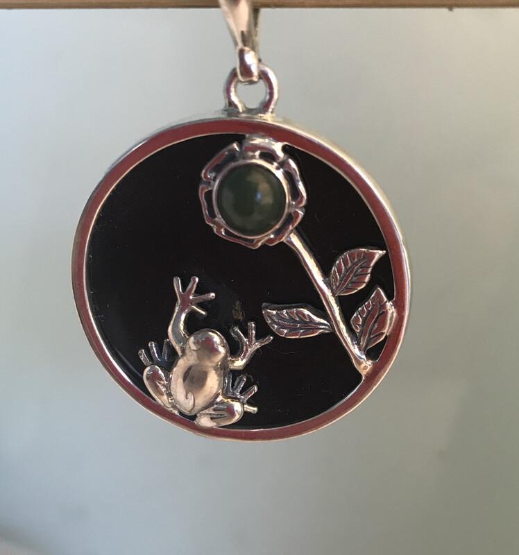 Onyx Frog Pendant