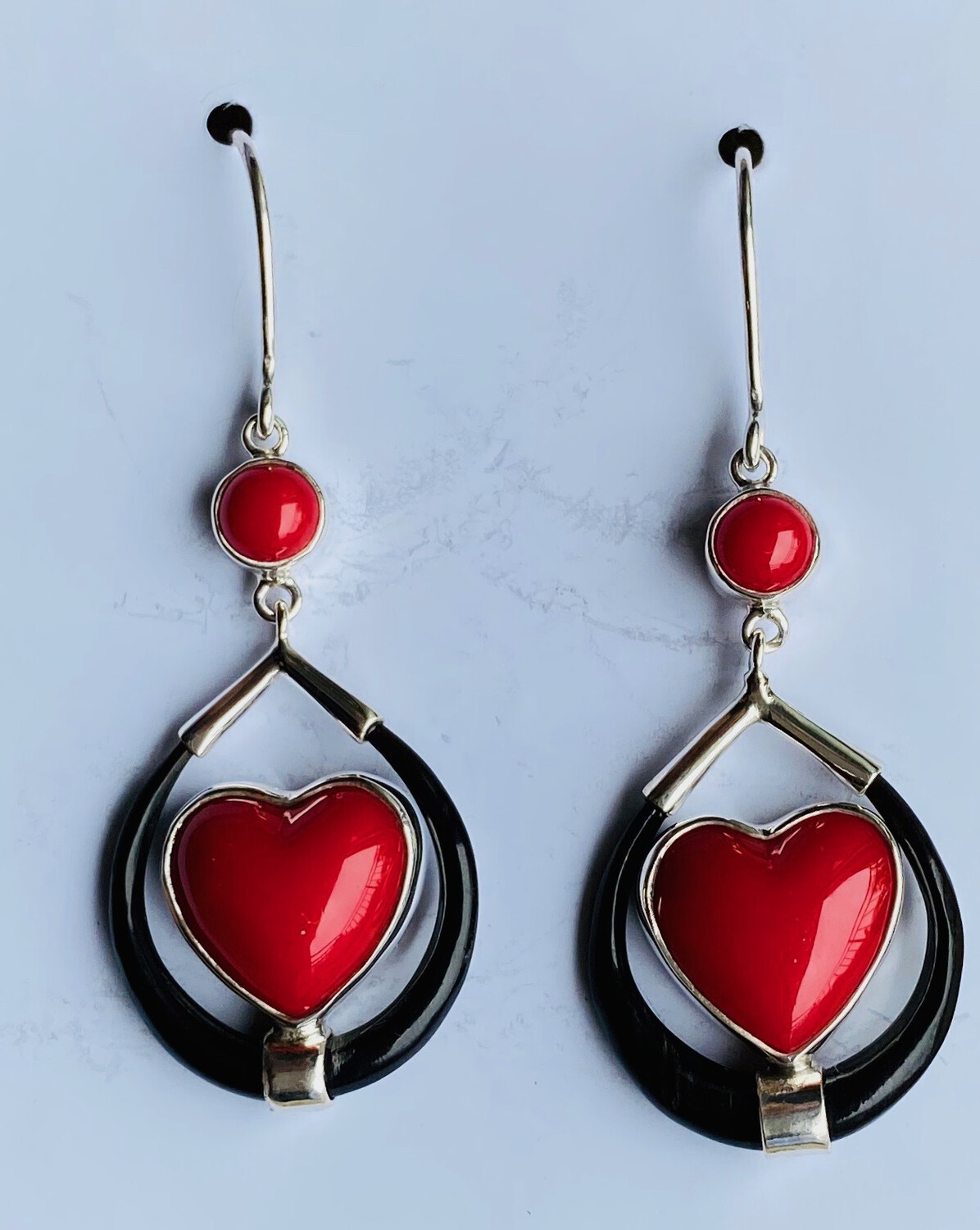 Coral and Onyx Heart Earings