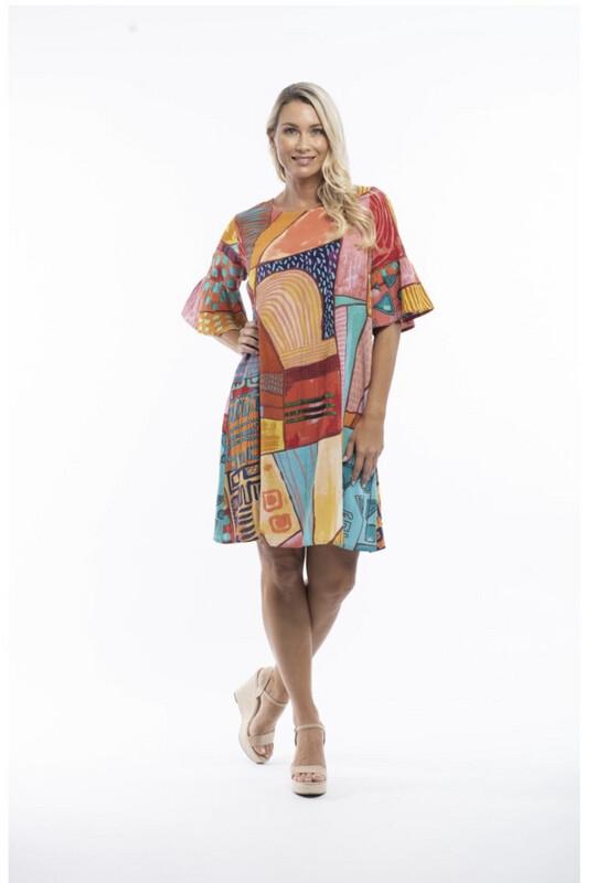 Bell Sleeve Corsica Dress