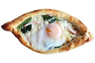 Khachapuri adjarian with bacon & spinach
