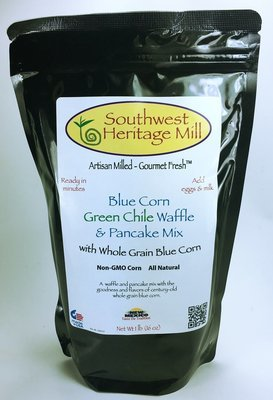 Blue Corn Waffle and Pancake Mix with Green chile
