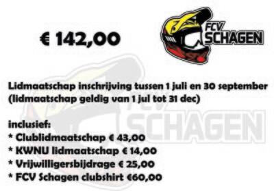 Lidmaatschap FCV Schagen e.o. 1 juli t/m 30 september
