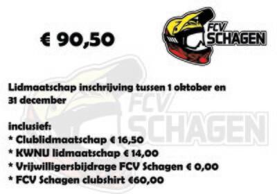Lidmaatschap FCV Schagen e.o. 1 oktober t/m 31 december