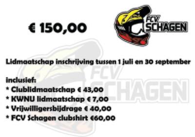 Lidmaatschap FCV Schagen e.o. 1 juli t/m 31 december
