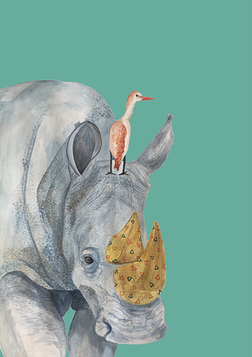 Rhino illustration print