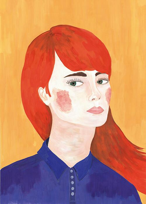 Red hair girl illustration print