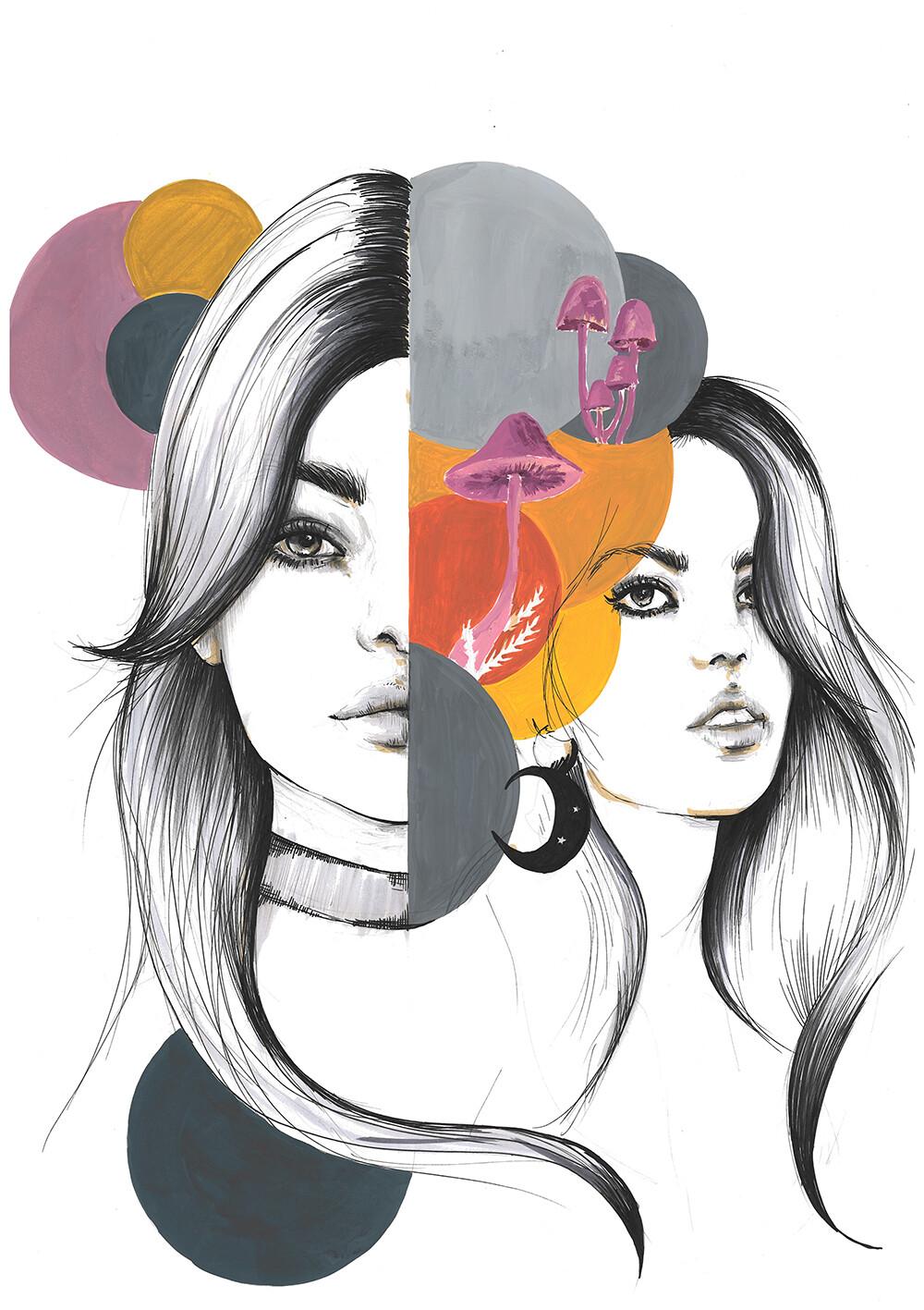Mushroom Girls illustration print