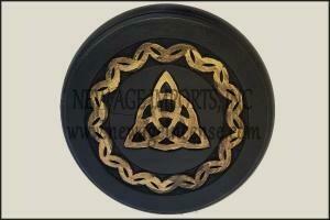 Black/Gold Wood Triquetra Altar Tile 9