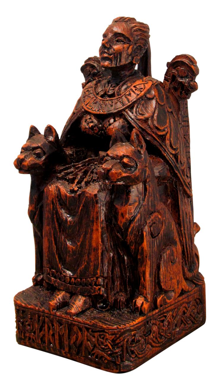 Seated Freya statue wood finish