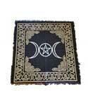 Triple Moon Pentagram Gold/Black Altar Cloth 24x24