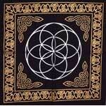 Seed of Life Black and Gold Cloth 18x18
