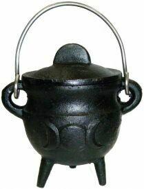 "Triple Moon Cauldron w/lid 2.75"""