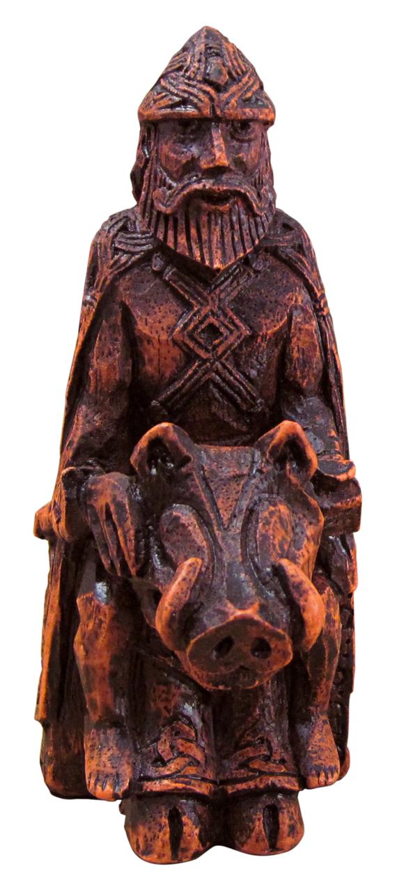 Freyr figurine wood finish
