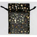 "Organza bag-black with gold stars 2.75""x3"""
