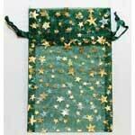 "Organza bag-green with gold stars 2.75""x3"""