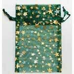 Organza bag-green with gold stars 2.75