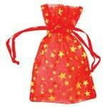 Organza bag-red with gold stars 2.75