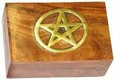 Brass inlaid Pentagram wood box 4x6