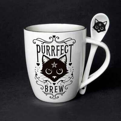 Purrfect Brew Mug and Spoon