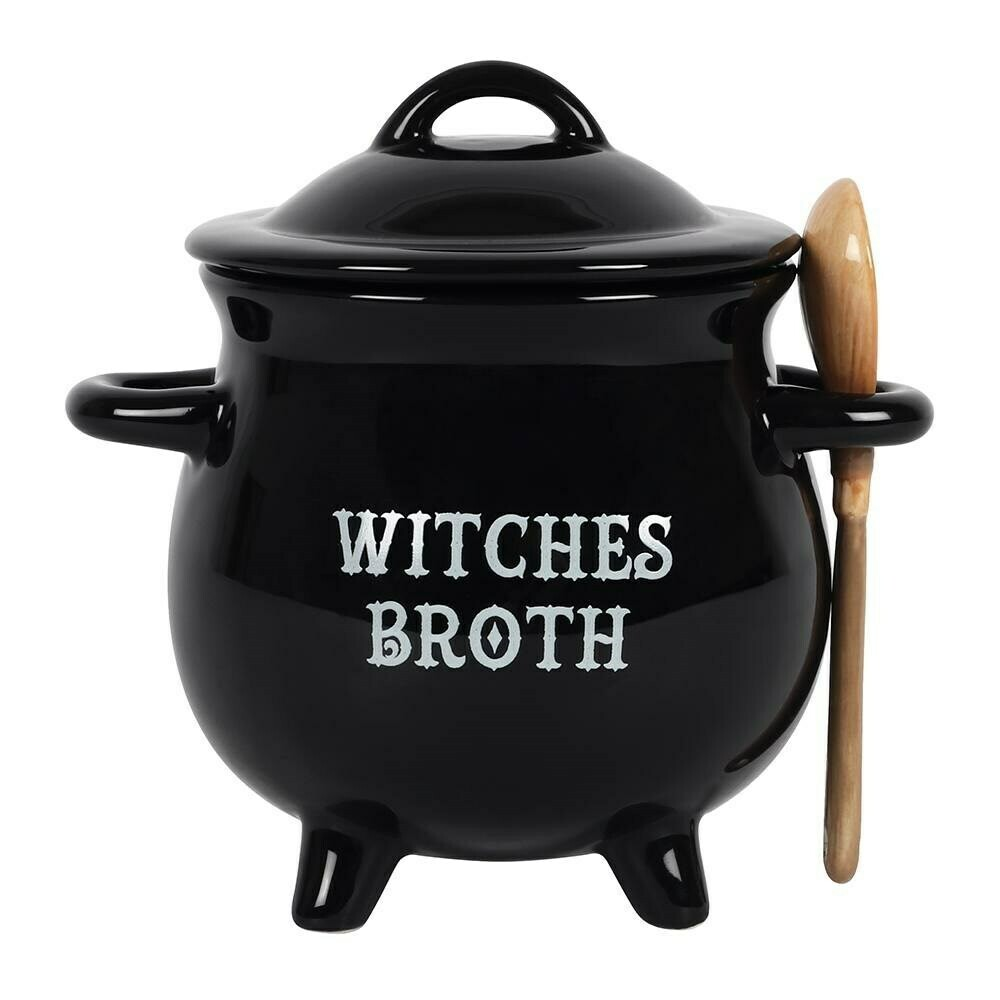 Witches Cauldron Bowl with Broom Spoon