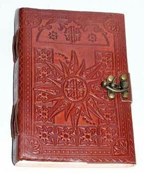 Sun leather journal w/latch 5x7