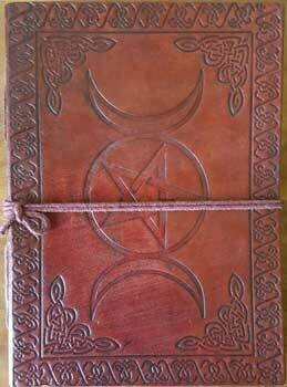 Triple Moon Pentagram leather journal 5x7 w/cord