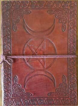 Triple Moon Pentagram leather journal 5x7 w/cord