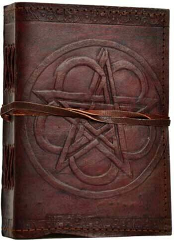 Pentagram leather journal w/cord 5x7