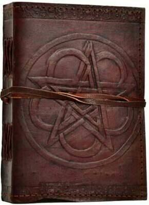 Pentagram leather journal w/cord 5x7