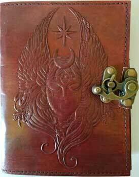 Moon Goddess Leather Journal w/latch 5x7