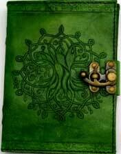 Green Tree of Life Leather Journal w/latch 5x7
