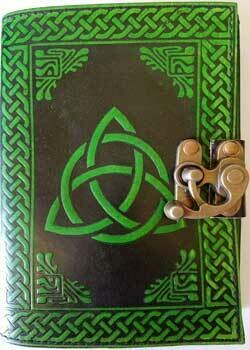 Green Black Triquetra Leather Journal w/latch 5x7