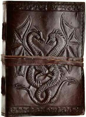 Double Dragon leather journal 5x7 w/cord