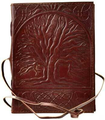 Sacred Oak Tree leather journal 5x7 w/cord
