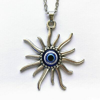 Evil Eye Mayan Sun necklace