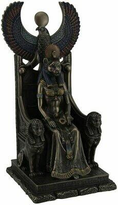 Egyptian Goddess Sekhmet Sitting in Throne