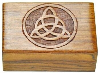 Triquetra carved wood box 4x6