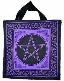 Pentagram Black & Purple 18x18 tote