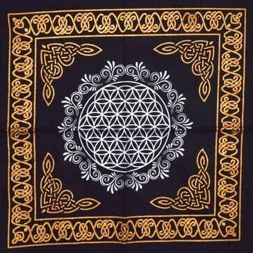 Flower of Life Black/Gold Cloth 18x18