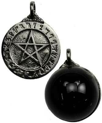 Theban Pentagram Scrying Disk Necklace