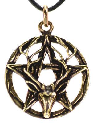 Pentagram Stag Bronze pendant