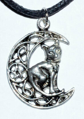 Celtic Moon & Cat Pendant