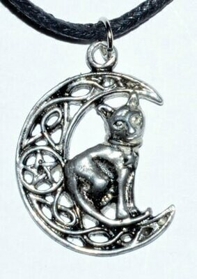 Celtic Moon & Cat Pendant