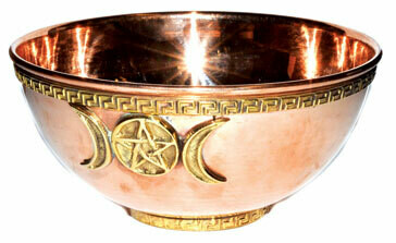 Triple Moon Offering Bowl Copper 6