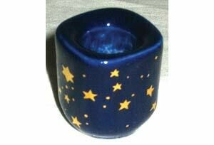 Chime Candle Holder Blue with Gold Stars