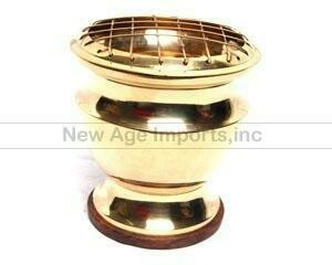 """Brass Screen Charcoal Burner 4""""H with Coaster"""
