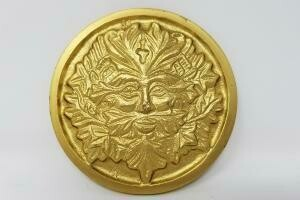"Solid Brass GREEN MAN Altar Tile Gold Finish 3.5"" Round"