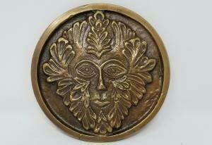 "Solid Brass GREEN MAN Altar Tile Honey Gold Finish 3.5"" Round"