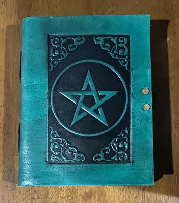 "Green Pentagram leather journal w/latch 5x7"""